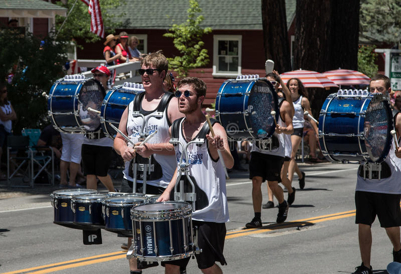 Drummers at Mohawk Valley Parade. Graeagle, California, USA- July 5, 2015: Drummers from the eNVision Performing Arts group thrill the crowd at the Mohawk Valley royalty free stock image