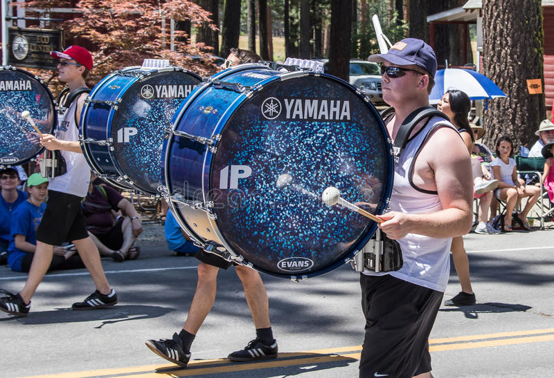 Drummers at Mohawk Valley Parade. Graeagle, California, USA- July 5, 2015: Drummers from the eNVision Performing Arts group thrill the crowd at the Mohawk Valley stock photos