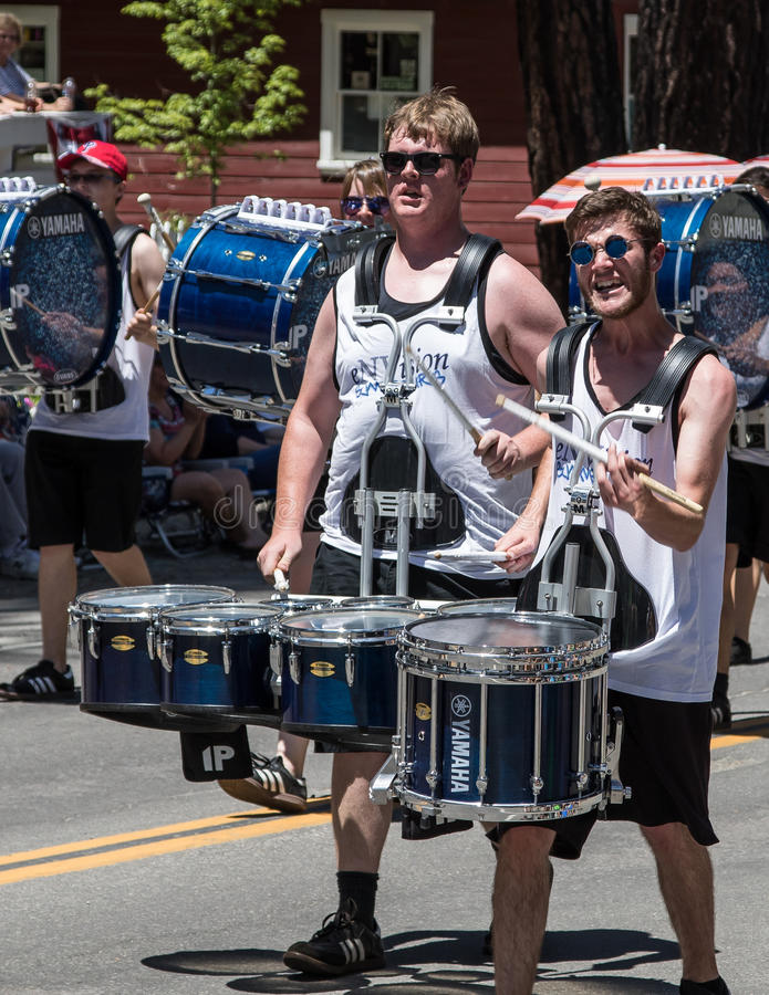 Drummers at Mohawk Valley Parade. Graeagle, California, USA- July 5, 2015: Drummers from the eNVision Performing Arts group thrill the crowd at the Mohawk Valley stock photography