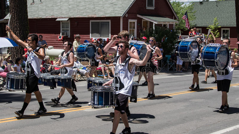 Drummers at Mohawk Valley Parade. Graeagle, California, USA- July 5, 2015: Drummers from the eNVision Performing Arts group thrill the crowd at the Mohawk Valley royalty free stock images