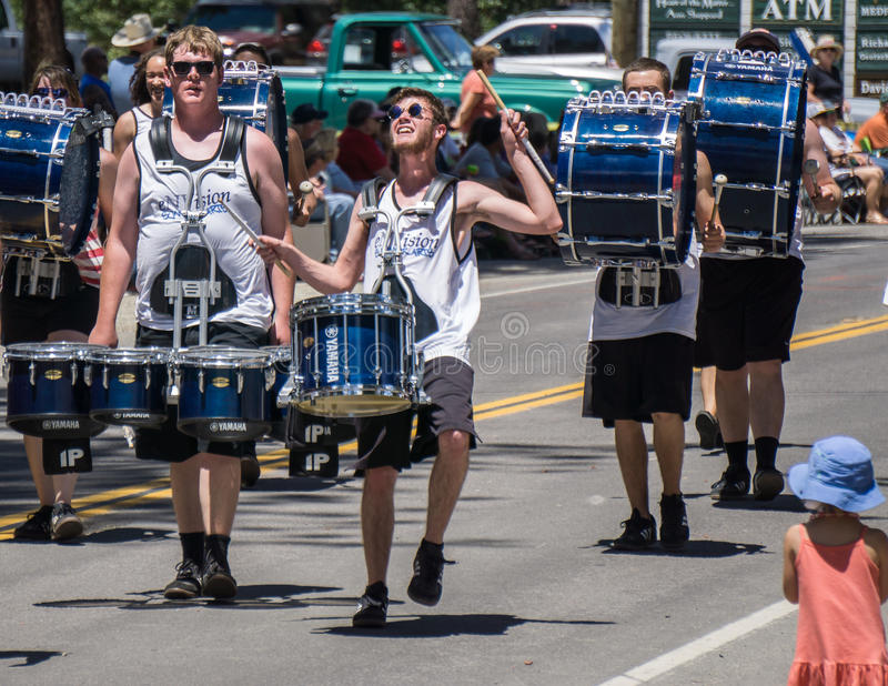 Drummers at Mohawk Valley Parade. Graeagle, California, USA- July 5, 2015: Drummers from the eNVision Performing Arts group thrill the crowd at the Mohawk Valley stock images