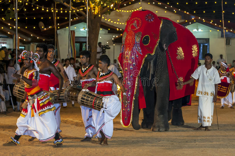 Drummers perform ahead of a parade elephant during the Kataragama Festival in Sri Lanka. The Kataragama Festival is a predominantly Hindu festival held each royalty free stock photo