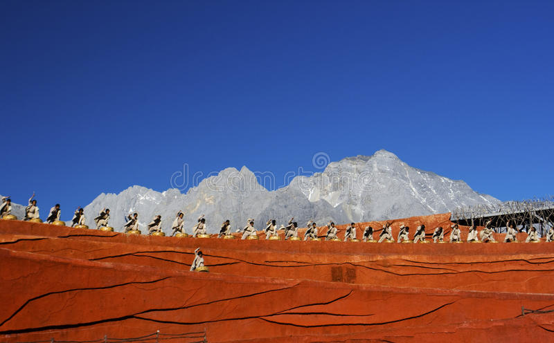 Drummers performing at Impression Lijiang stock images