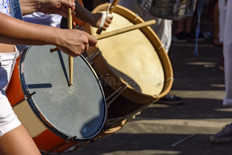 Drums being played during samba performance. At Rio de Janeiro carnival royalty free stock image