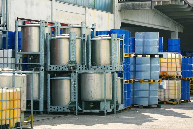 Drums for chemical liquids. Many Drums for chemical liquids stock photo