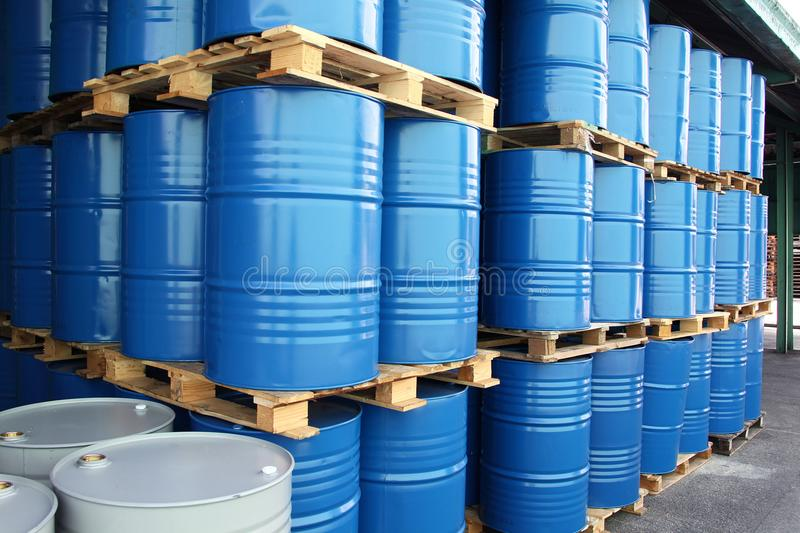 Drums for chemical liquids stock photography