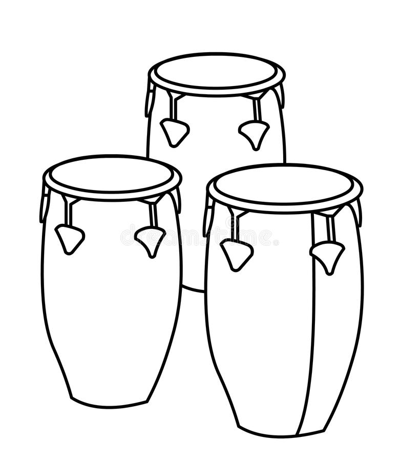 Drums coloring page. Hand drawn drums coloring page for kids royalty free illustration