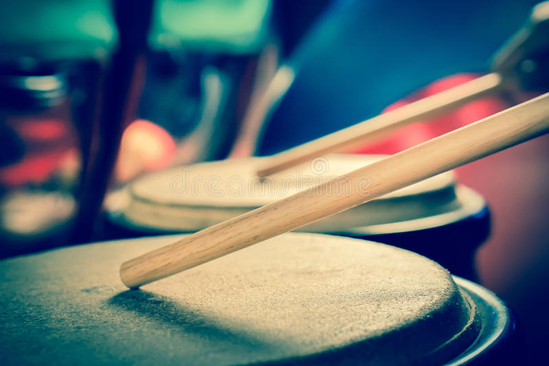 Drums. And  sticks retro royalty free stock images