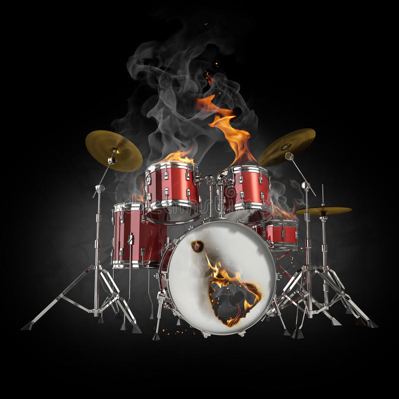 Drums In Fire Stock Image