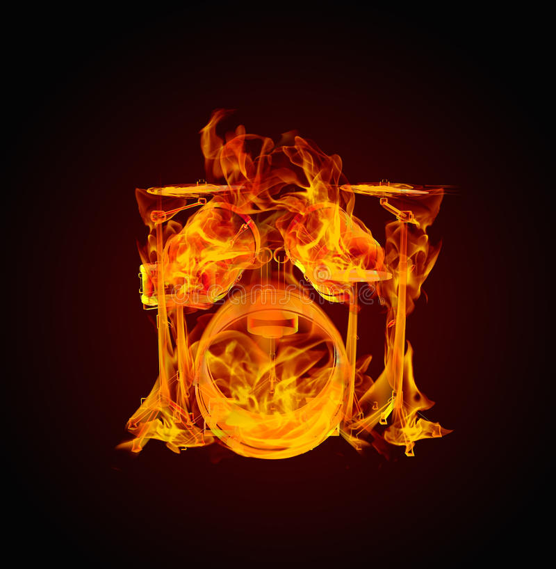 Drums in fire royalty free illustration