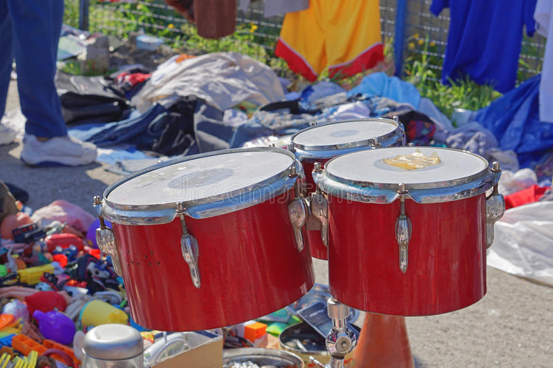 Drums at market stock photography