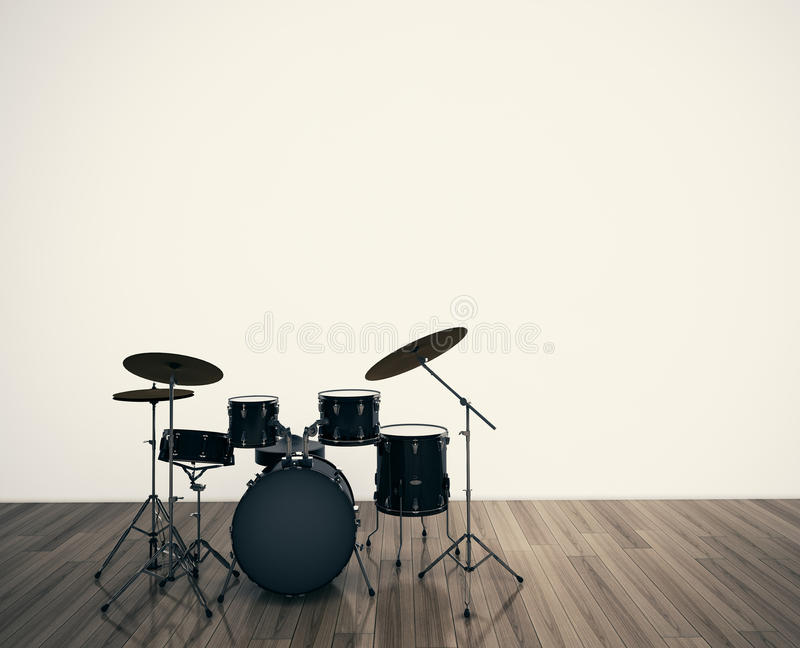 Drums musical tool. The Drums musical tool in room royalty free stock photos