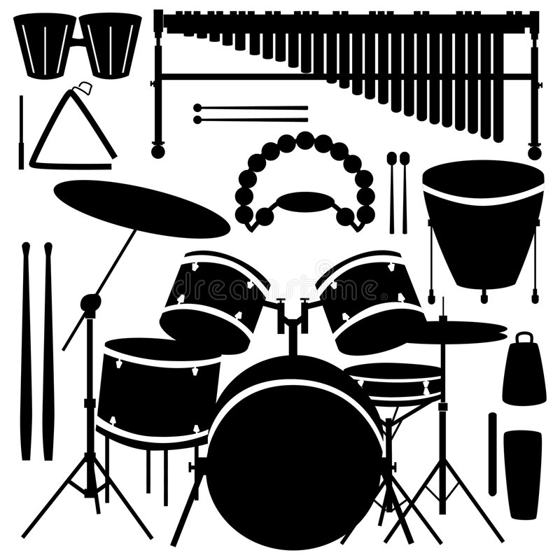 Drums and percussion instruments royalty free illustration