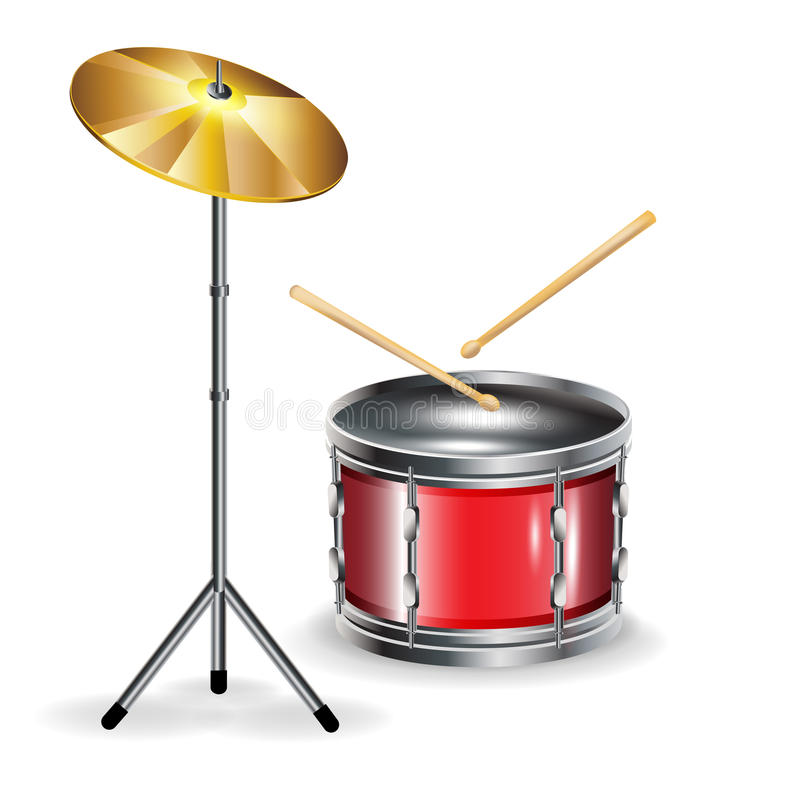 Download Drums With Sticks And Cymbal Stock Vector - Illustration of shiny, entertainment: 25799659