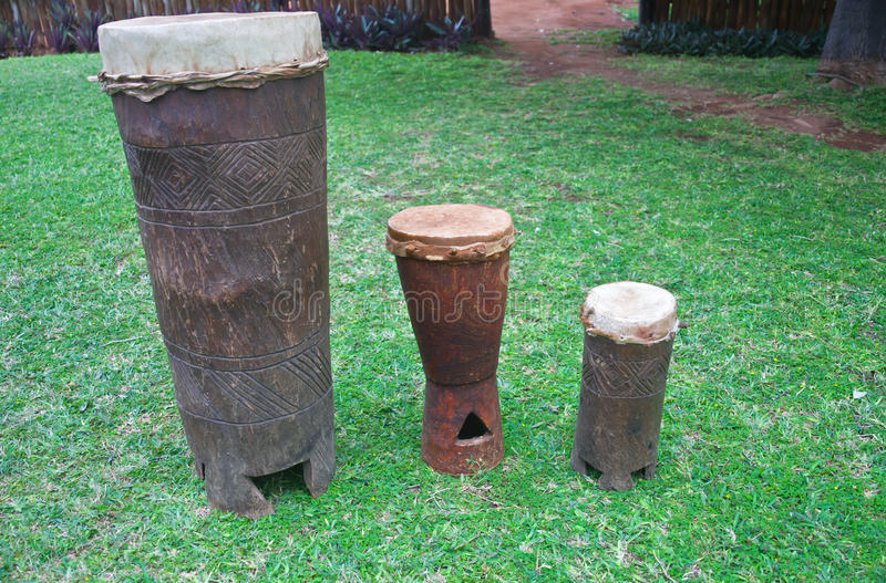Drums of the Venda people of the Limpopo province. Big, medium and small drums made of wood and leather. South Africa royalty free stock image
