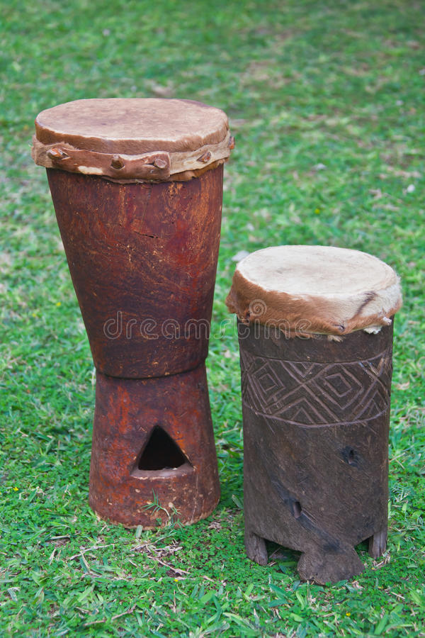 Drums of the Venda people of the Limpopo province. Medium and small drums made of wood and leather. South Africa stock photos