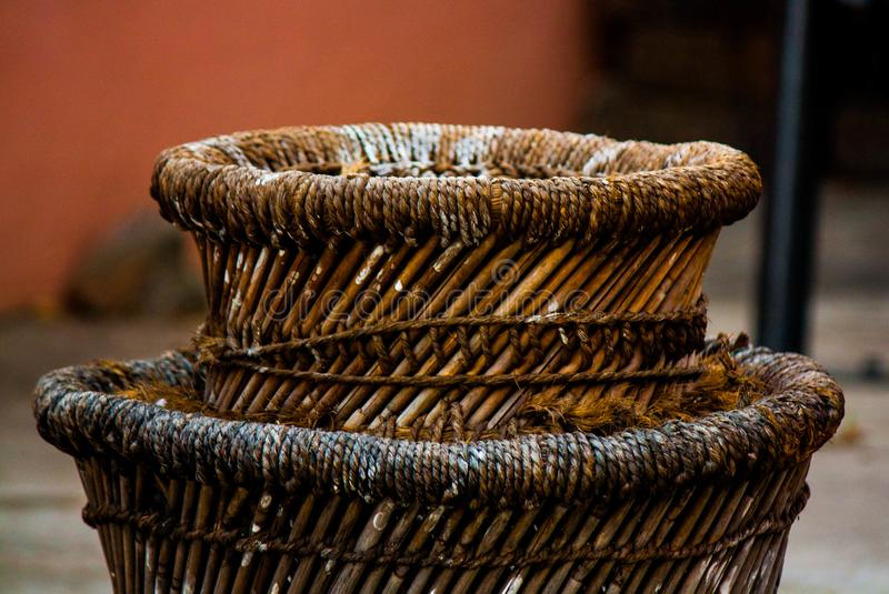 Drums of Wood. Wooden seating drums at home stock images