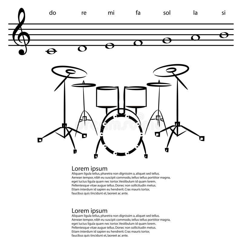 Drumstel, Abstracte g-sleutel, nota's Vectorachtergrond vector illustratie
