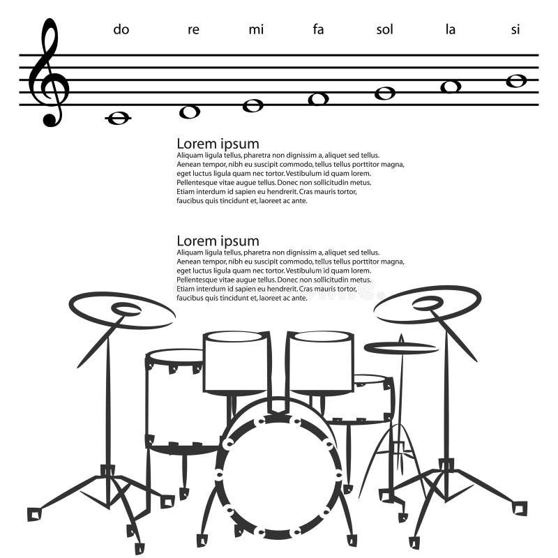 Drumstel, Abstracte g-sleutel, nota's Vectorachtergrond stock illustratie