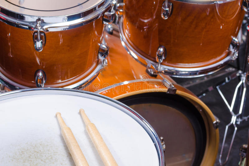 Drumsticks on drum royalty free stock photo