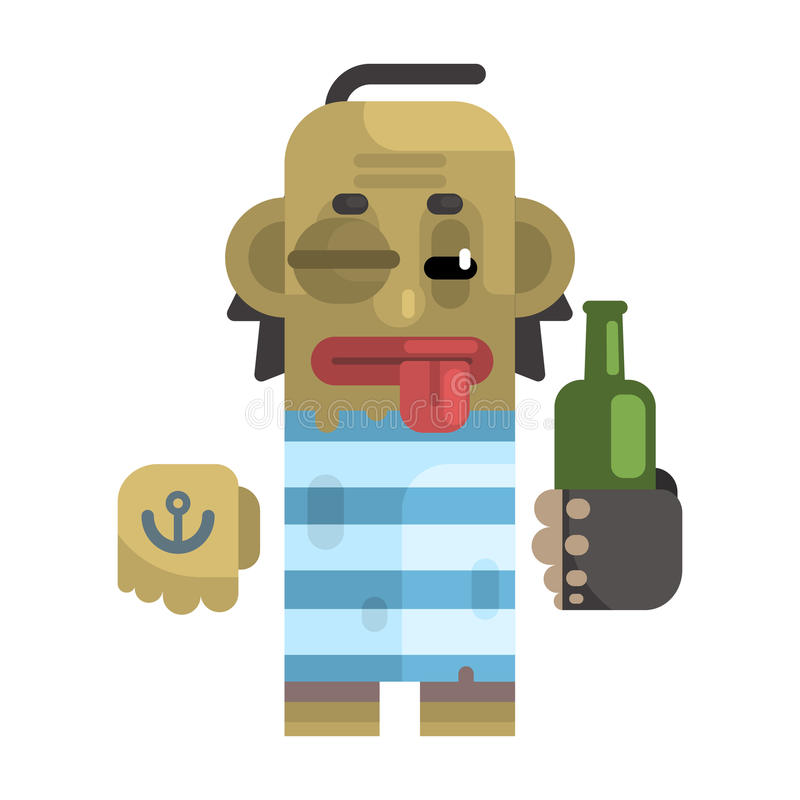 Drunk Alcoholic With Shiner And A Bottle. Revolting Homeless Person, Dreg Of Society, Pixelated Simplified Male Vagabond Character. Scary And Disgusting stock illustration