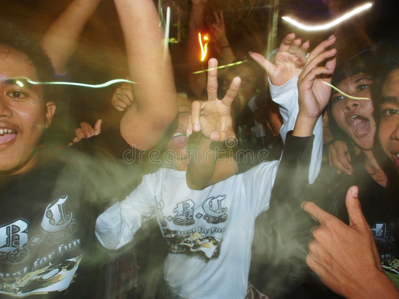 Drunk Balinese Young Men Celebrating Ogoh-Ogoh royalty free stock photo