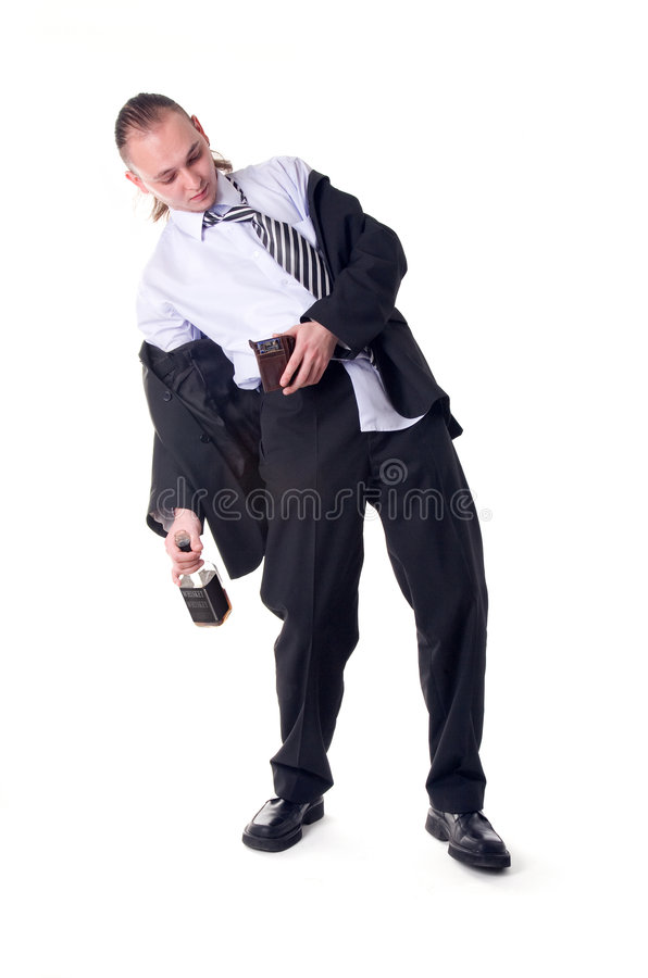 Drunk businessman shocked by empty wallet royalty free stock image