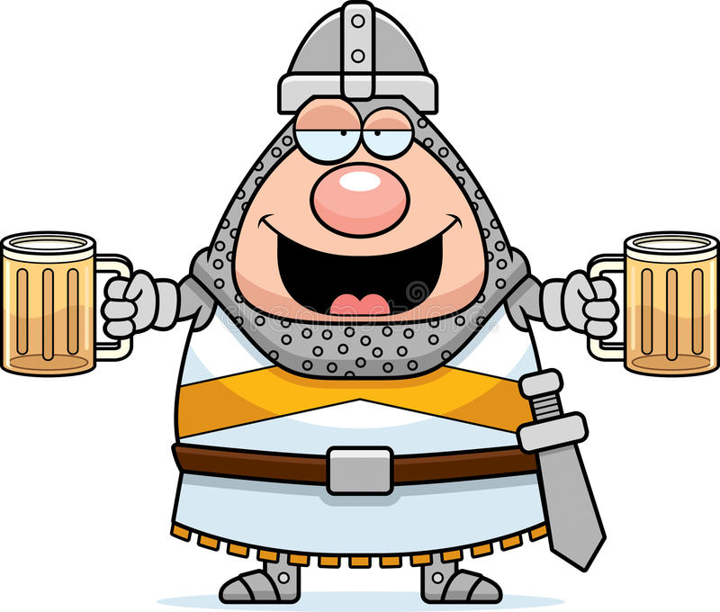 Drunk Cartoon Knight stock illustration