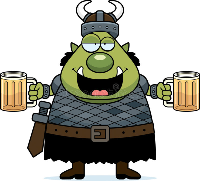 Drunk Cartoon Orc royalty free illustration
