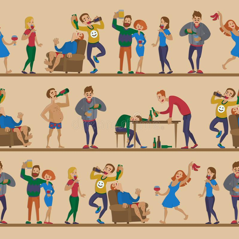 Drunk cartoon people vector alcoholic man and woman alcoholism drunken tipsy characters person seamless pattern. Background stock illustration
