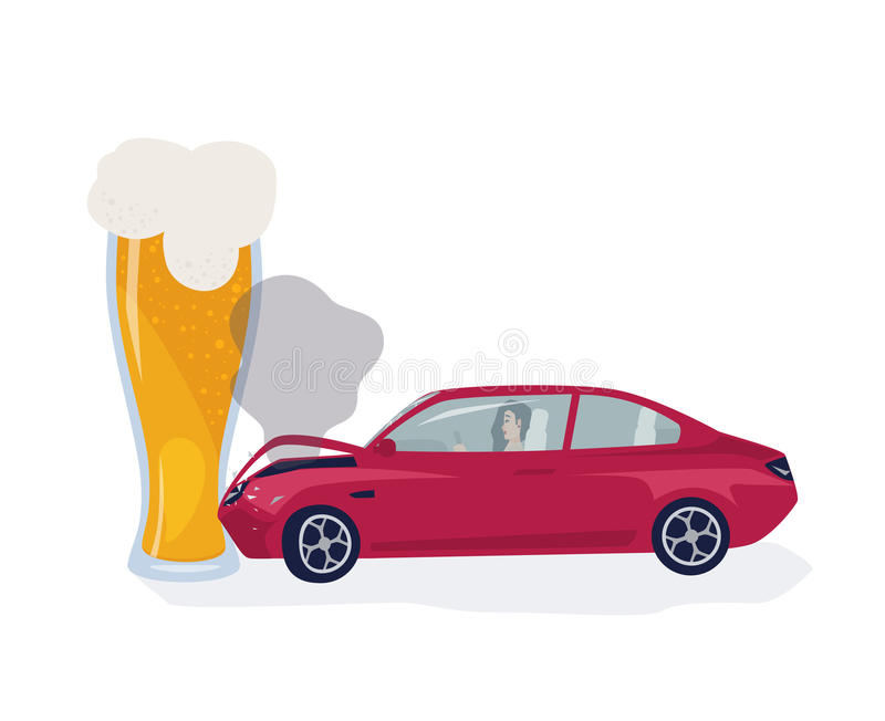 Drunk driver concept. Car crached into beer glass. Colorful vector illustration. stock illustration