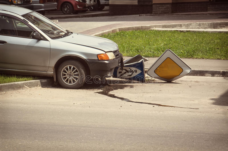 Drunk driver cut in road Zach with a pedestrian royalty free stock photos