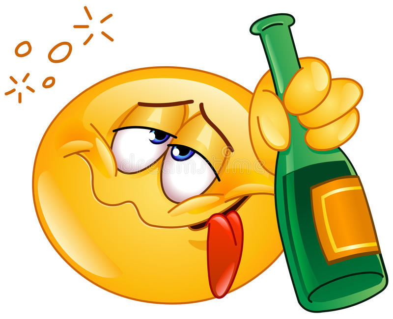 Drunk emoticon. Holding an alcoholic drink bottle