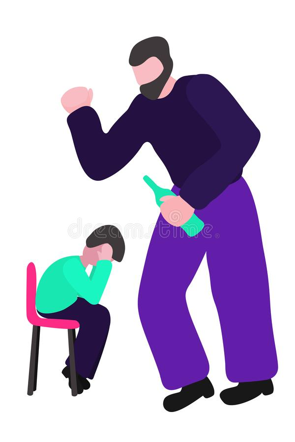 Drunk father swings at the boy. A man beats a child. Concept vector - stop alcoholism, domestic and family violence. Harassment and child abuse. Isolated royalty free illustration