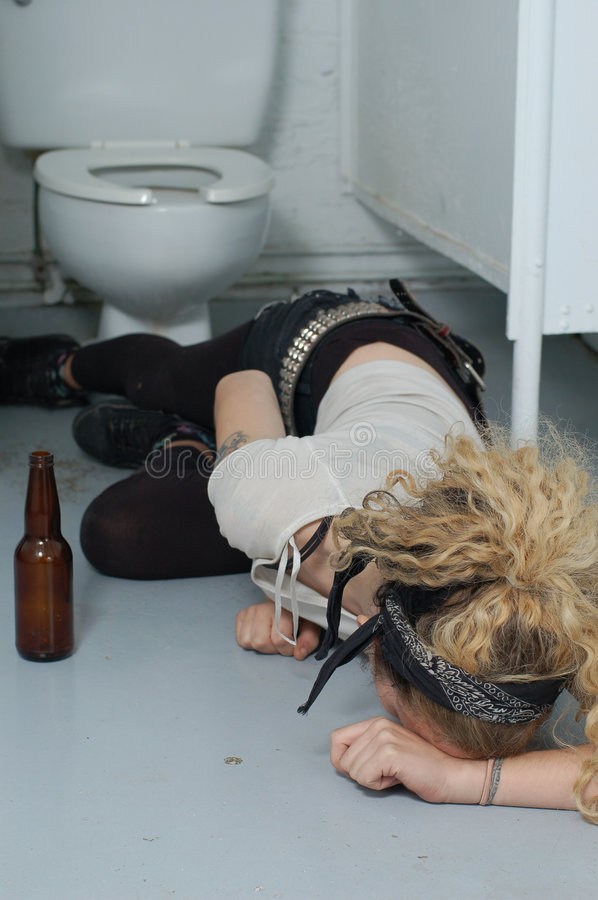 Download Drunk Girl In A Public Toilet 5 (focus On Head & Left Hand) Stock Photo - Image: 1574202