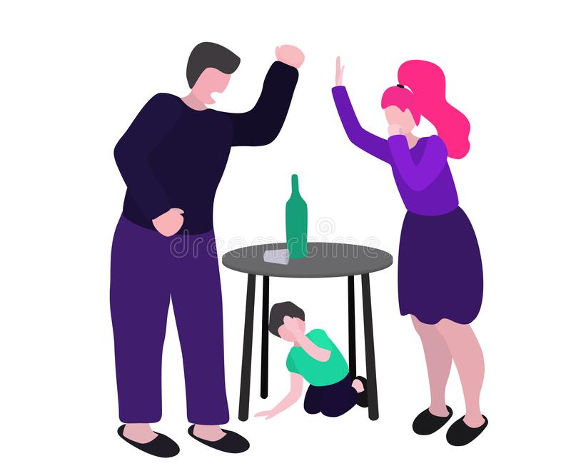 Drunk husband quarrels with his wife. A man beats a woman and a child. Vector conception - stop alcoholism, domestic and. Family violence, harassment and child stock illustration