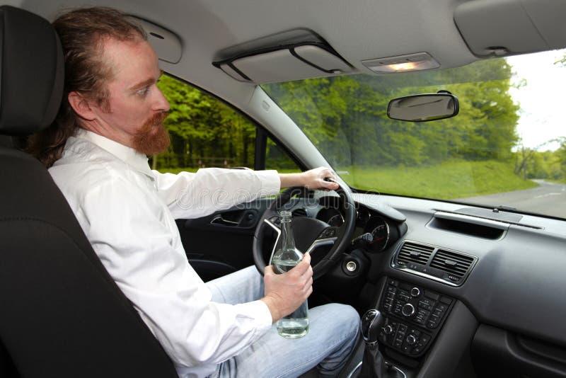 Drunk man in car royalty free stock image