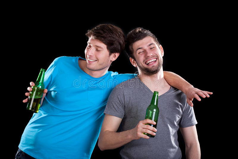 Drunk men friends stock image