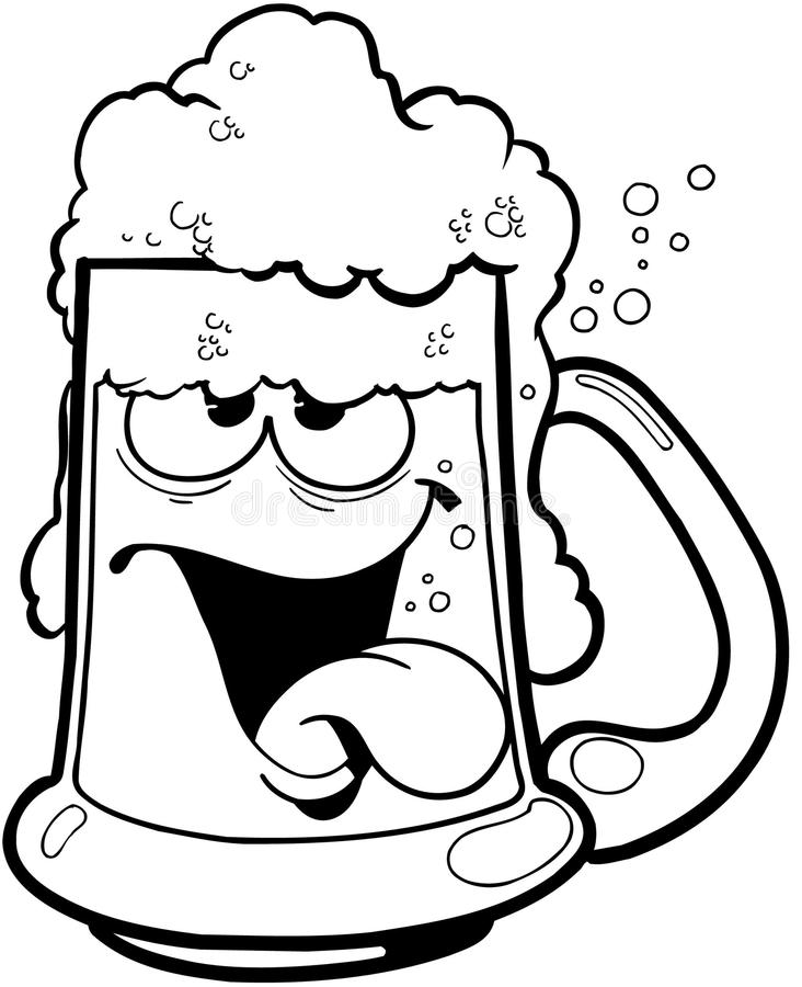 Drunk mug of beer cartoon Vector Clipart royalty free illustration