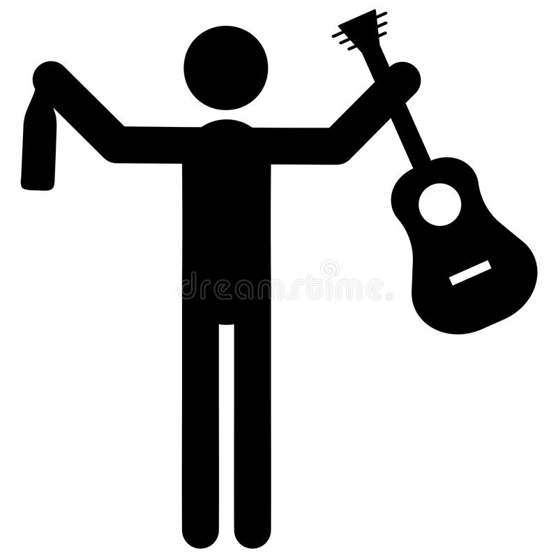 Drunk musician icon stock illustration