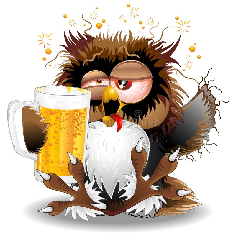 Free Drunk Owl With Beer Funny Character Royalty Free Stock Photography - 103311027