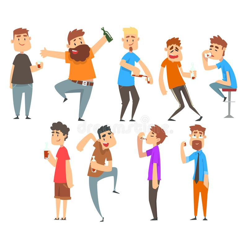 Drunk People Set, Boozy Men Walking Tipsy with Alcohol Drink Bottles and Glasses in Their Hands Vector Illustration vector illustration