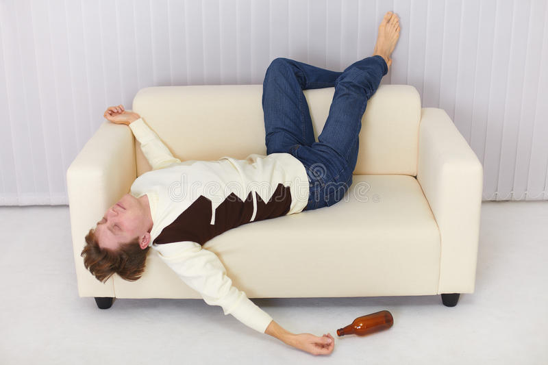 Download Drunk Person Funny Sleeps On Sofa Stock Photo   Image Of Tippler,  Bare: