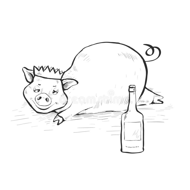 Drunk pig lies in a dirty puddle. On the head cap. Hand-drawn. Contour Line Drawing. stock illustration