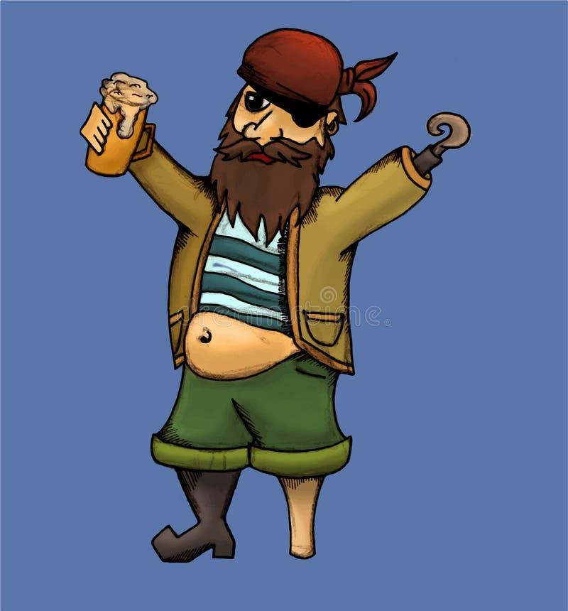 Drunk pirate vector illustration royalty free illustration