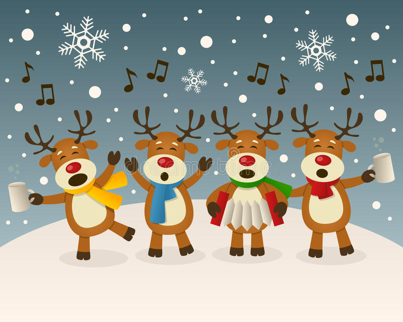 Drunk Reindeer Singing on the Snow. A funny cartoon Christmas scene with four funny drunk reindeer characters singing carols, in a snowy scene. Eps file
