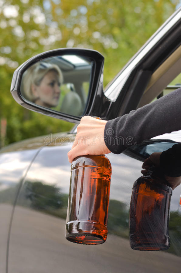 Drunk woman driver royalty free stock photography