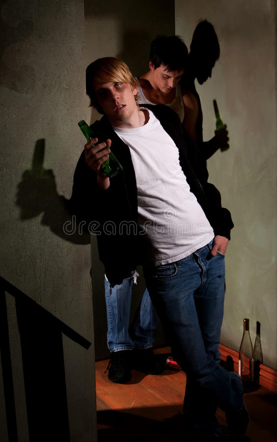 Drunk young men stock images