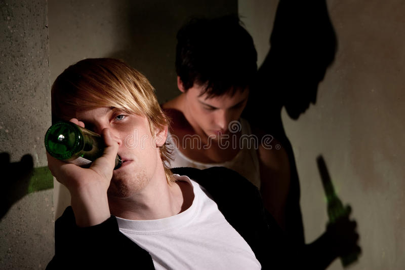 Drunk young men royalty free stock images
