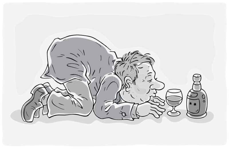 Drunken man with a bottle of wine vector illustration